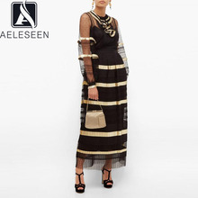 Black Dress Hollow-Out Lantern-Sleeve Ruffles Vintage Women Summer AELESEEN Cascading
