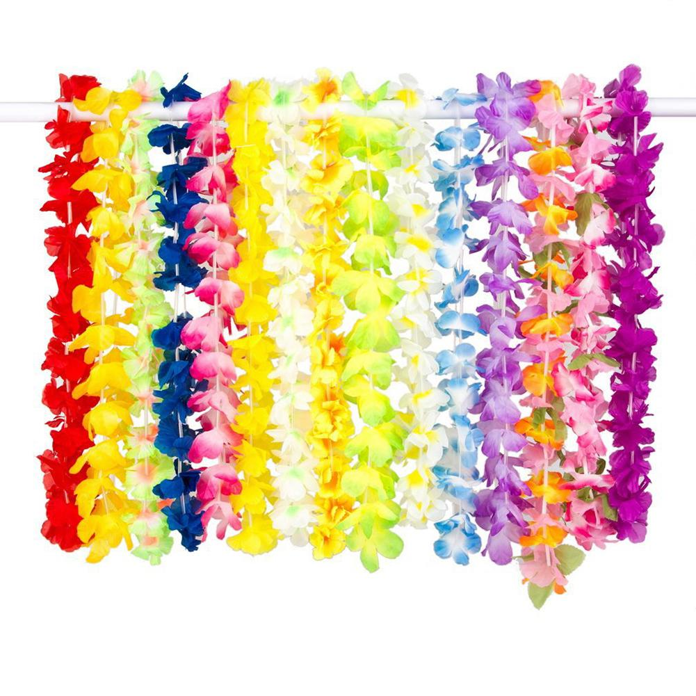 36Pcs Kids Flower Garland Hawaiian Leis Hula Faux Flower Garland Necklaces Headband Lei Party Supplies