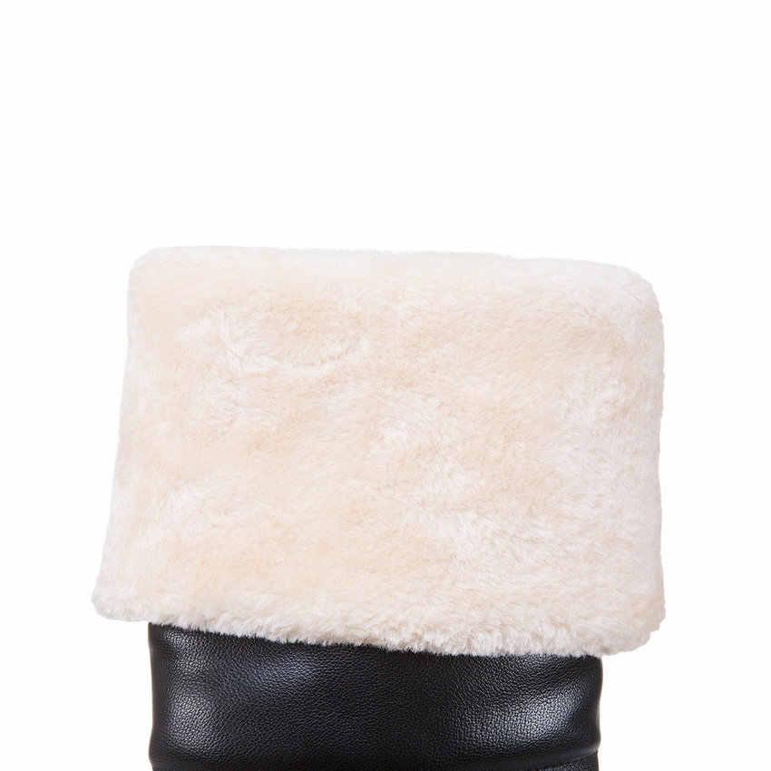 ESVEVA 2018 kadın botları tatlı tarzı kısa peluş yuvarlak ayak diz yüksek çizmeler yüksek topuklu yüksekliği artan bayanlar ayakkabı boyutu 34-43