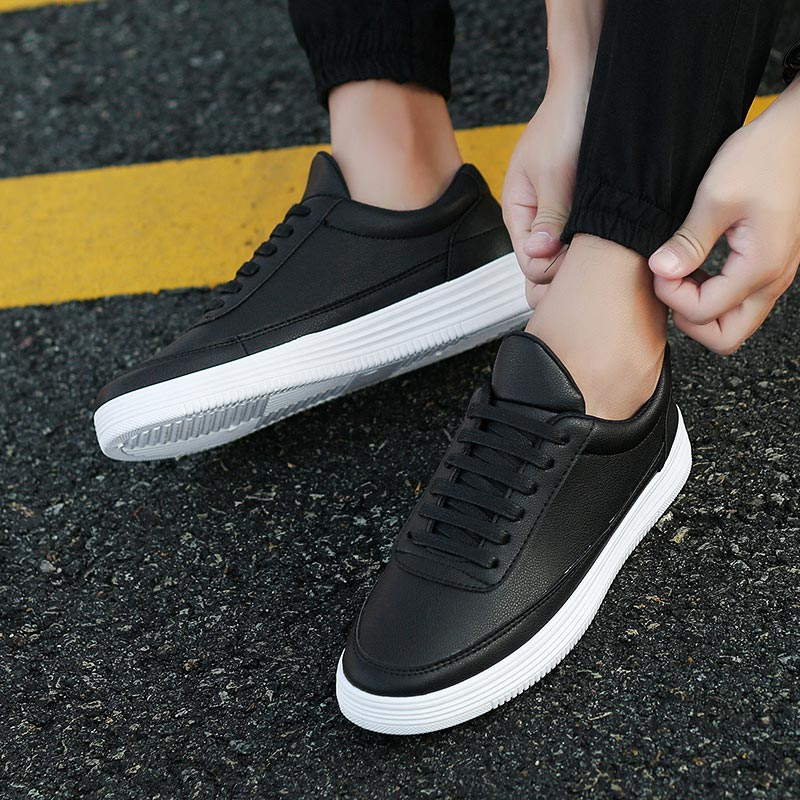 PU Leather Man Sport Shoes Mens Shoes Sports Shoes Running Tennis Man Black Athlete Athlete Male Sneakers Men's Leather E-364