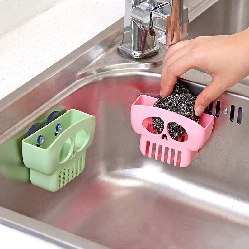 1Pcs Cute Skull Basket Sink Hanging Drainer Shelf Sponge Wash Water Holder Racks Home Kitchen Organization Sundries Storage