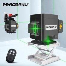 PRACMANU 3D лазерный уровень самонивелирующийся 360 горизонтальный и вертикальный крест зеленый 12 линий 3D лазерный уровень Горизонтальный Вертикальный