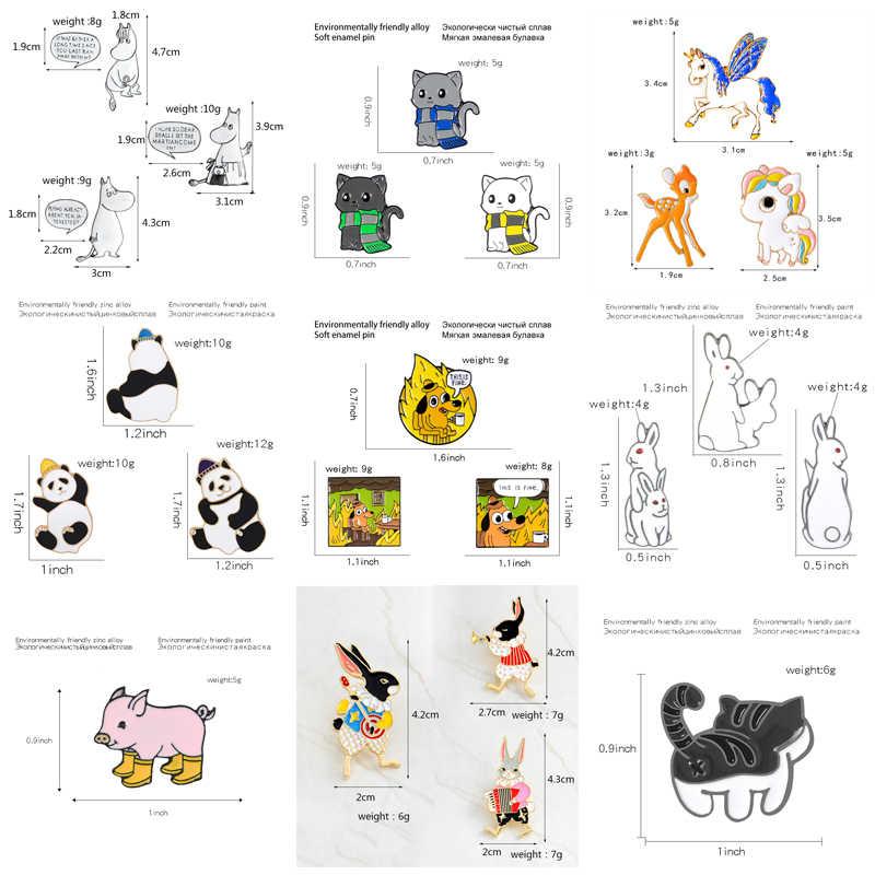 QIHE takı hayvan seti pimleri Unicorn su aygırı domuz panda kedi köpek tavşan broş rozetleri eğlenceli arkadaşlar hediyeler pimleri sırt çantaları için