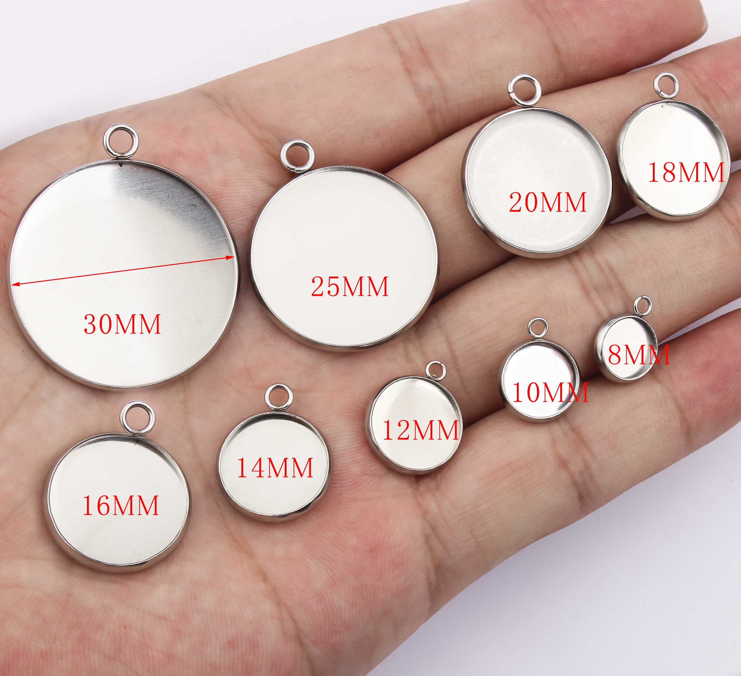 10pcs stainless steel 12mm 14mm 16mm 20mm 25mm round cabochon tray settings diy blanks pendant bezel for jewelry necklace making in Jewelry Findings Components from Jewelry Accessories