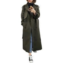 Британский бренд, новая мода, осень, повседневный двубортный простой классический длинный плащ с поясом, шикарная Женская ветровка