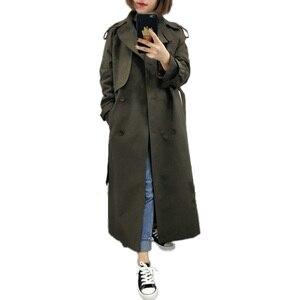 Uk Brand New Fashion 2020 Fall/Herfst Casual Double Breasted Eenvoudige Klassieke Lange Trenchcoat Met Riem Chic Vrouwelijke windjack(China)