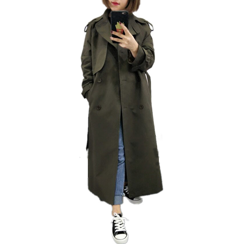 UK Brand new Fashion 2019 Fall /Autumn Casual Double breasted Simple Classic Long Trench coat with belt Chic Female windbreaker