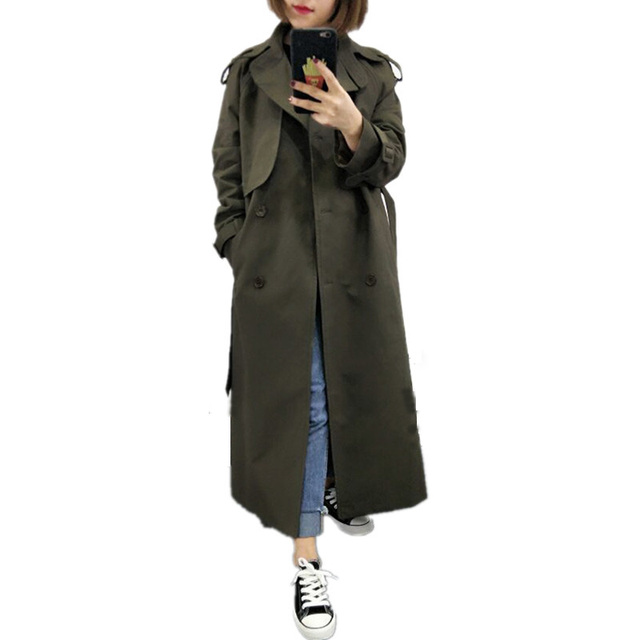$  UK Brand new Fashion 2020 Fall /Autumn Casual Double breasted Simple Classic Long Trench coat with belt Chic Female windbreaker