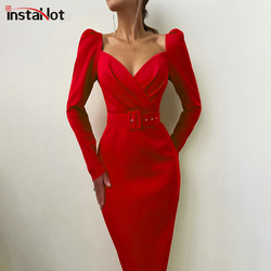 InstaHot Elegant Party Women Dress Slim V Neck Long Sleeve Mid Calf Pencil Dress 2020 Casual Office Lady Solid Red Puff Sleeve