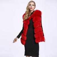 2019 Women Leather And Fur Vest Woman Artificial Wool Imitate Fox Loose Coat Fur vest woman furry fox fur stitching jacket Vest