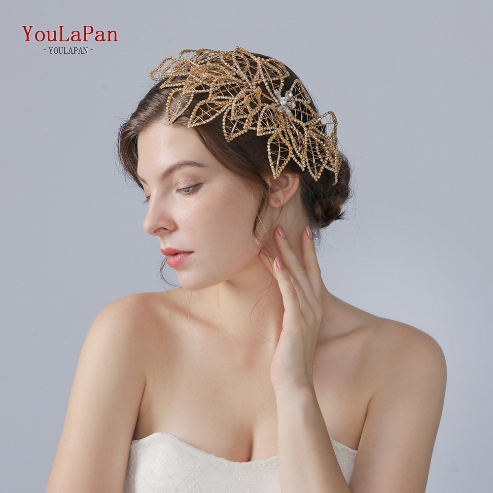 YouLaPan Golden Hyperbolic Beaded  Wedding Hair Accessories Hair Vine Wedding Hair Jewelry Crowns  Woman's Accessories HP256-G