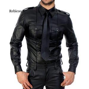 Męski ze sztucznej skóry koszule z długim rękawem PU skórzane koszulki z krótkim rękawem mężczyźni Sexy topy Fitness Gay lateks T-shirt koszulki mężczyźni Sexy odzież klubowa