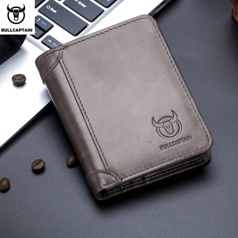 Bullcaptain RFID Leather Mens Wallet with Coin Purse Retro Fashion Mens Wallet Features Brown Short Wallet Card Holder ClutchWallets   -