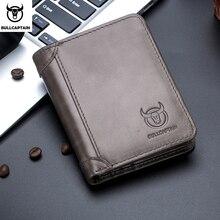 Мужской кожаный бумажник Bullcaptain, коричневый короткий кошелек с отделением для карт, с радиочастотной идентификацией, в стиле ретро