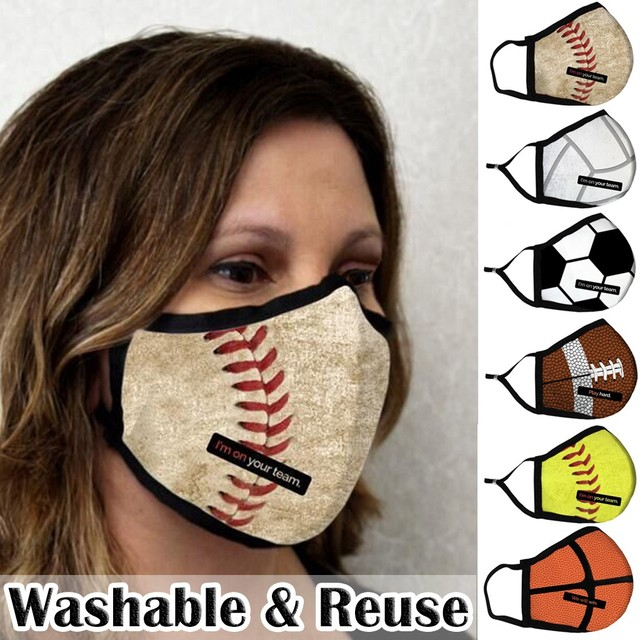 1pc Face Mask Adult Washable Funny Sports Ball Printed Mouth Cover Mondkapjes washable And Reusable Máscara Facial Women Men 3