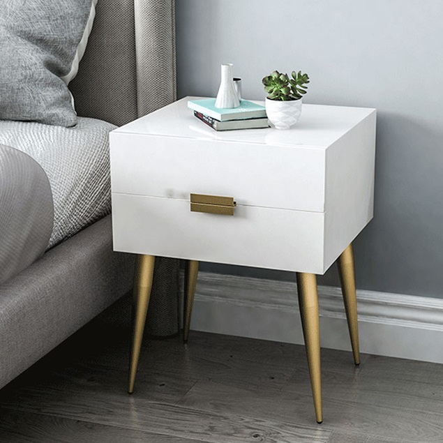 Best Quality Nordic Europe Nightstands Wooden Side Tables Furniture Bebroom Storage Cabinet Night Table With Metal Foot/Drawers