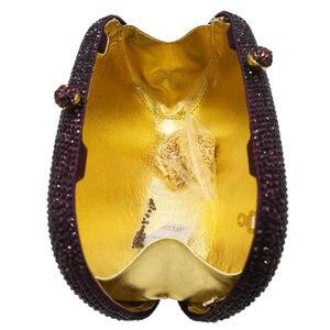 Image 4 - Butik De FGG zarif elmas kadın mor akşam çanta gelin düğün resmi akşam kristal debriyaj çantalar ve çanta