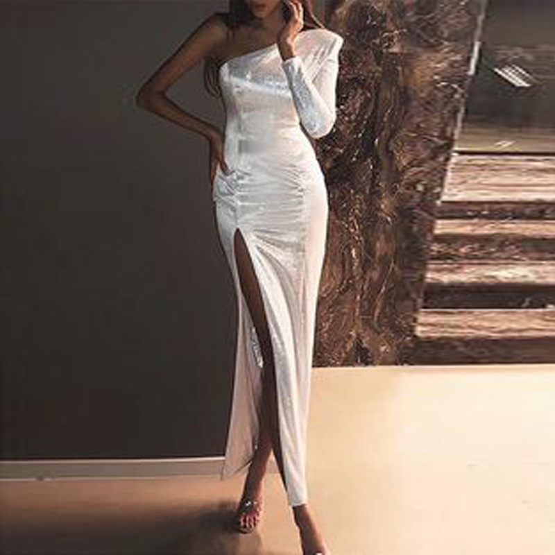 Linglewei New Spring and Summer Women's Dress sexy one shoulder fitted dress