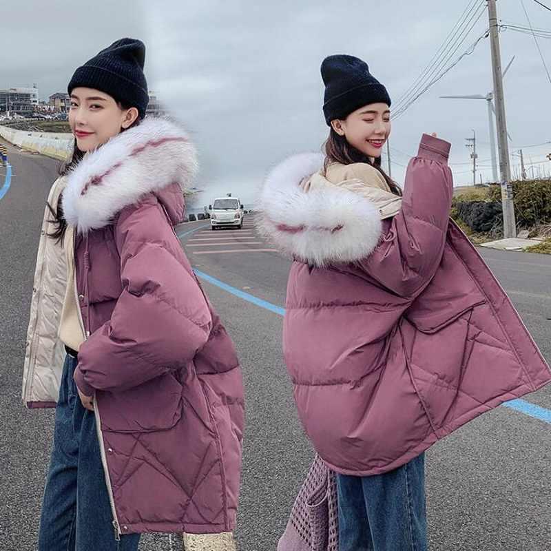 女性の大毛皮の襟のパーカーファッションビッグポケットコート女性パンコート冬のジャケットの女性
