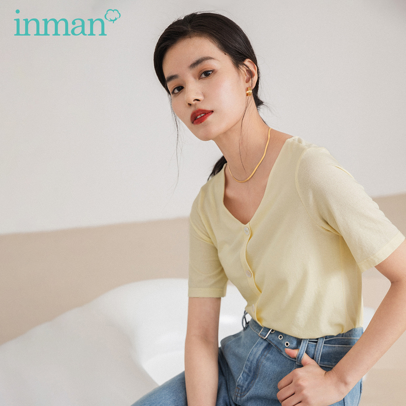 INMAN Office Style 2020 Summer New Arrial V-neck Leisure All-match Fashion Short Sleeve T-shirt
