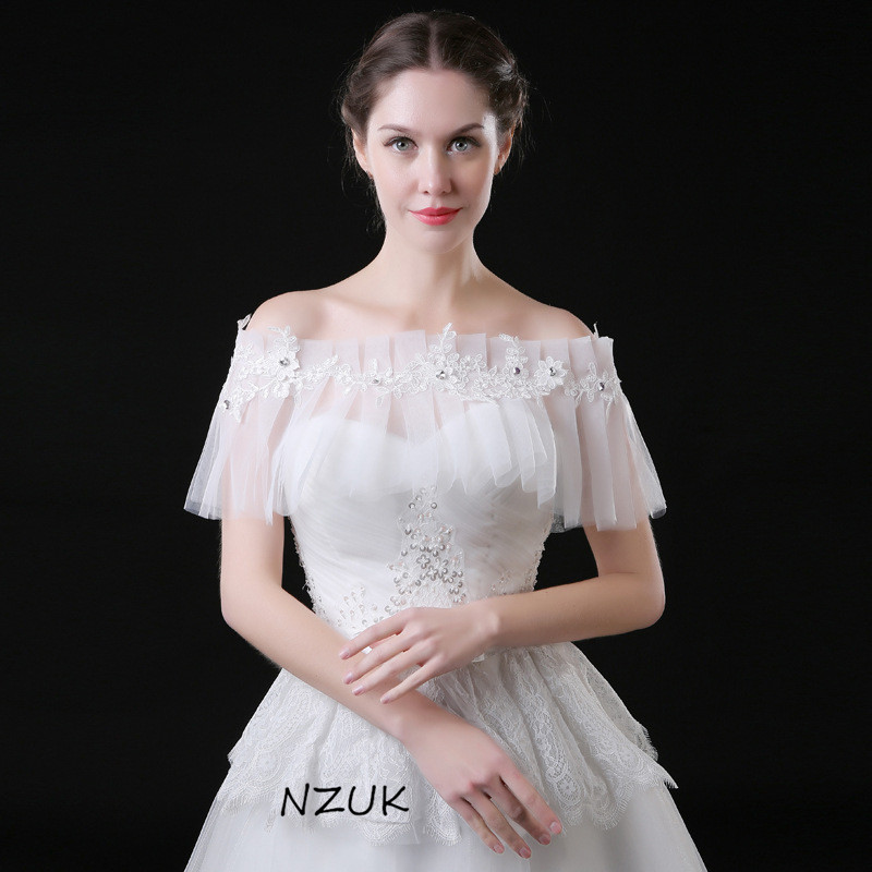 Elegance Lace Bridal Bolero Short Cape Wrap Summer Beach Wedding Bride Bridesmaids Dress Sleeveless Sheer Jacket PJ03