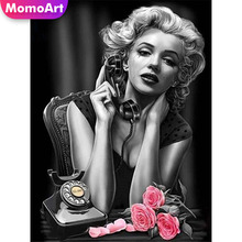 MomoArt Full Square Diamond Painting Marilyn Monroe DIY Embroidery Portrait Cross Stitch Wall Decoration