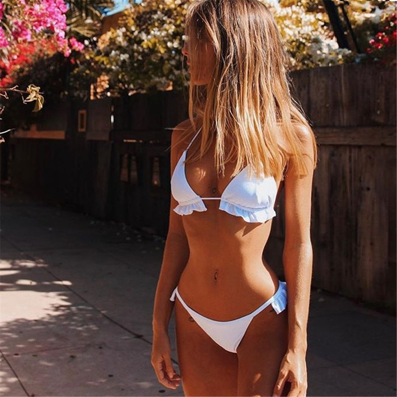 Hot Women <font><b>Bikini</b></font> Set <font><b>Sexy</b></font> Black <font><b>White</b></font> Bathing Suits Swimwear Ruffles Push Up Triangle Swimsuits Beachwear 2019 Swimming Wear image