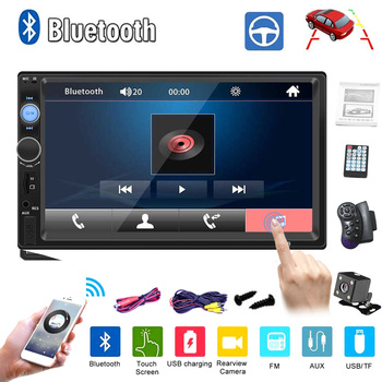 12V Car Stereo Player 7010B Car Radio Autoradio 2 Din Car Radio 7 Hd Touch Screen Stereo Receiver MP5 FM Bluetooth Mirror Link image