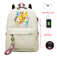 Mochila Feminina Pokemon Pikachu Backpack School Bookbags for Teenage Girl Women Backpack Travel Bags Usb Charge Laptop Backpack