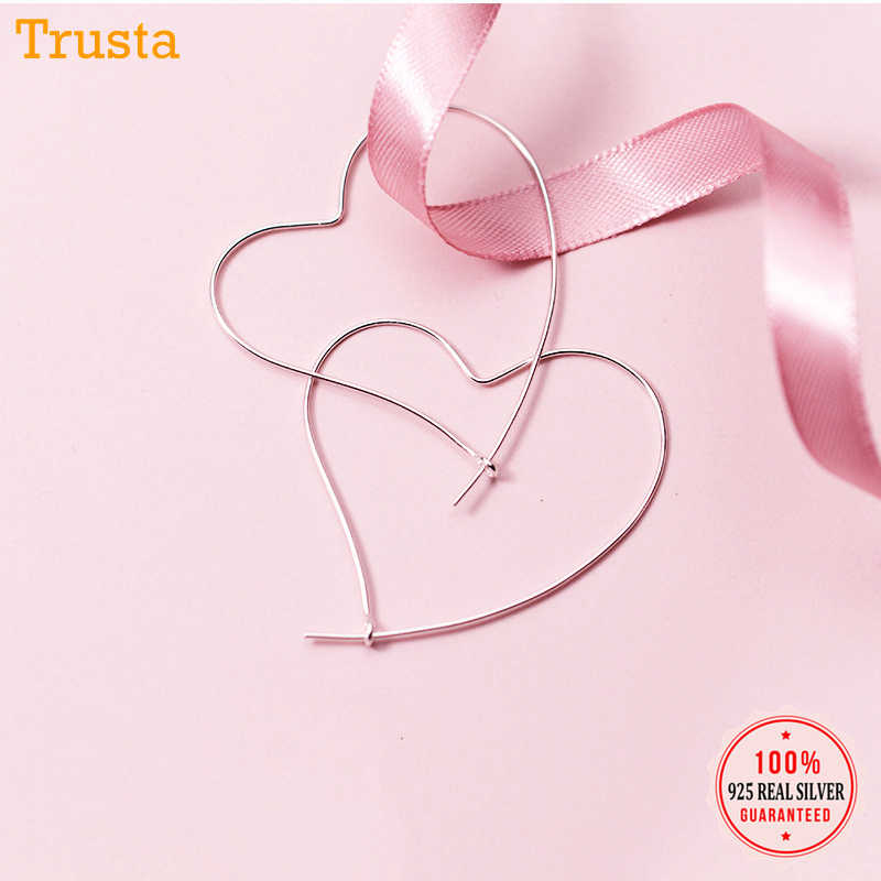Trusta New Women's 100% 925 Sterling Silver Jewelry Fashion Love Heart Hoop Earrings Gift For Girls Teens Lady DS135