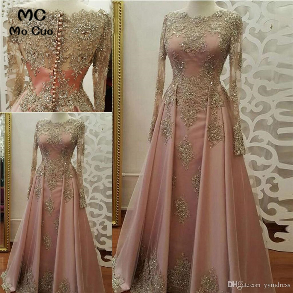 Sheer Lace   Prom     Dresses   with Long Sleeves with Appliques Beaded Evening Gown Vestido de festa   Prom     Dresses   Custom Made