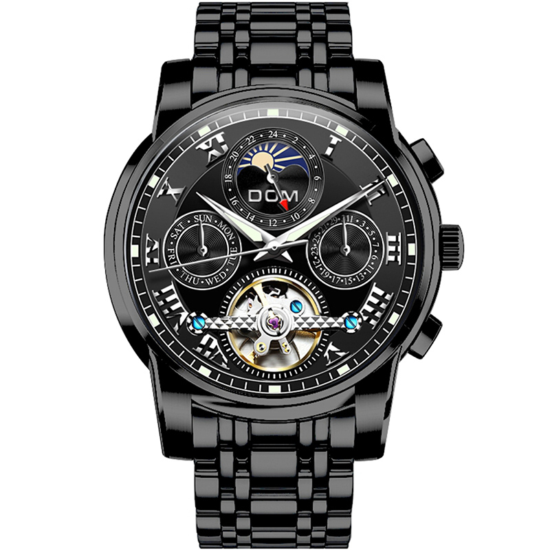 DOM Mechanical Automatic Watch Men Top Brand Luxury 2020 Fashion Stainless Steel Strap Hollow Date Waterproof Watches Mens