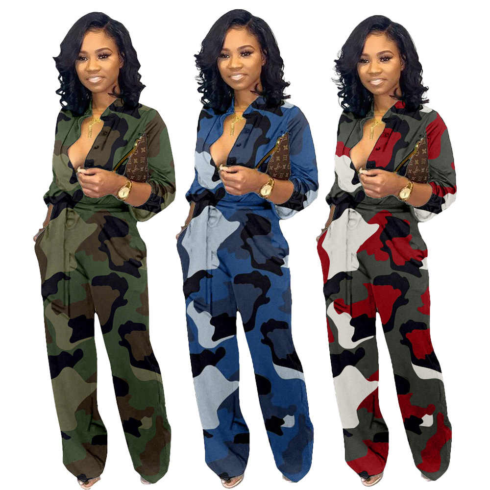 Autumn Women Camouflage Print Long Sleeve Button Jumpsuit Turn-down Neck Military Straight Sashes Romper Casual Playsuit GL3181