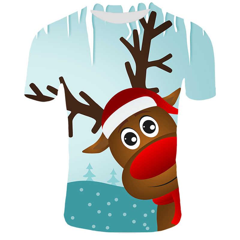 Рождественская Мужская футболка с изображением оленя, мужские летние футболки с круглым вырезом, Повседневная футболка, дышащие футболки, Рождественский костюм для пары
