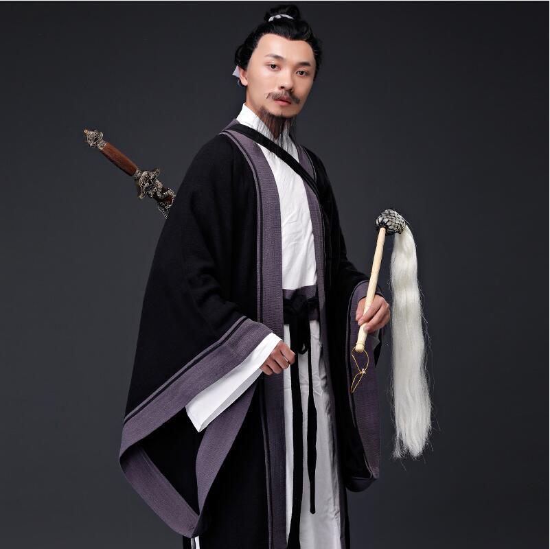 Hanfu Man Cotton Linen Taoist Priest Outfit Mahdao Monastery Theatre Group Performing Costume Ancient China Hanfu Clothing Men