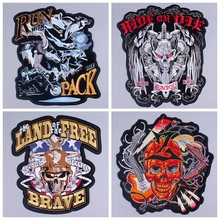 Pulaqi Cool Letter Motorcycle Skull Punk Patches for Clothing Stripe Iron on Biker Morale Wings Back Embroidery Patch wholesal H