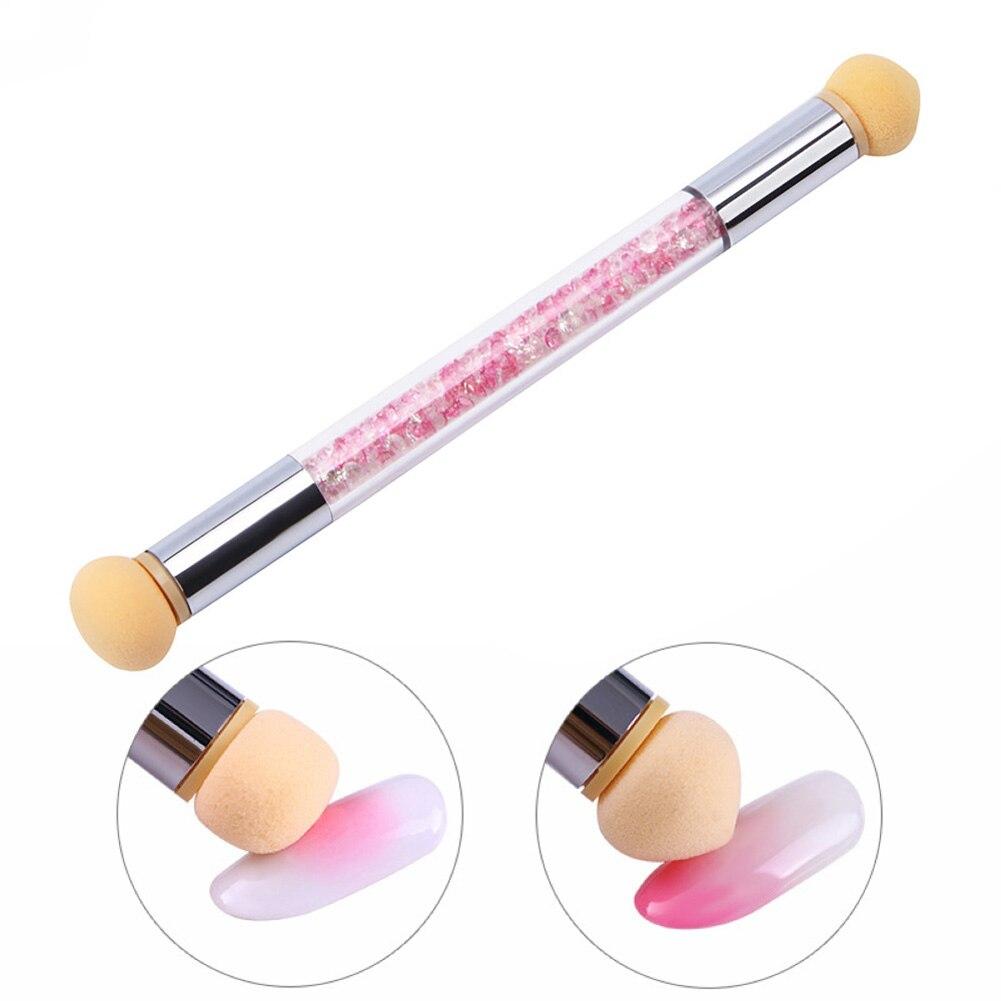 1 pacote de unha arte esponja escova dupla ponta ombre esponja escova da arte do prego caneta ombre unhas manicure ferramentas para salão beleza uso doméstico rosa