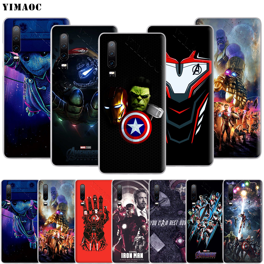 YIMAOC Marvel Avengers Heroes Phone Case for Huawei Honor 20 Note 10 9X 9 8X 8C 7A 7X 7C 6A Lite Pro image