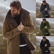 Zimowa męska nowa moda wiatrówka płaszcz męska klapa ciepło puszysta brązowa kurtka męska kurtka męska wełniany płaszcz tanie tanio CN (pochodzenie) Pełna REGULAR COTTON Poliester Grube Batik Wełna mieszanki NONE Stałe Przycisk up collar Konwencjonalne