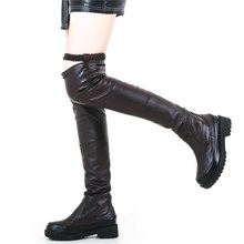 Slim Leg Riding Boots Women Stretch Buckle Over The Knee Low Heel Long Sneakers Platform Oxfords Shoes Punk Goth Creepers