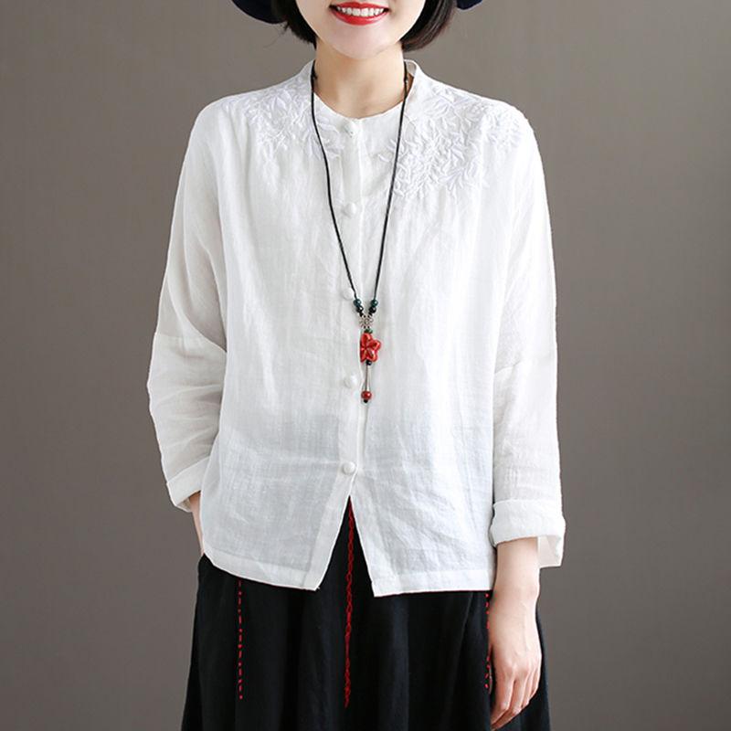 Women Long sleeve Linen Button  2