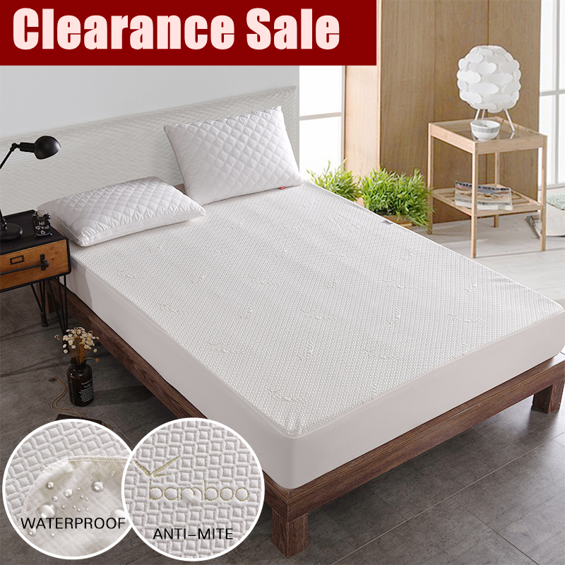 Bamboo Knitting Jacquard Waterproof Mattress Cover Pad Jacquard Anti-dust Mite Breathable Mattress Protector 1pc Clearance Sale