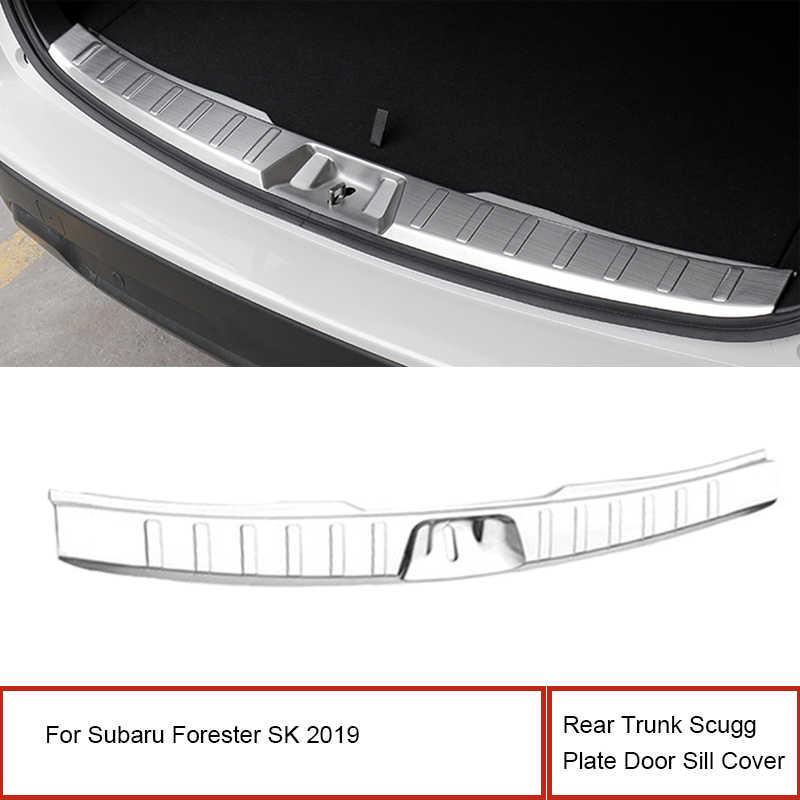 1 Uds. Cubierta trasera del umbral de la puerta de la placa del maletero para Subaru Forester SK 2019 ABS Protector interior del parachoques del cromo inoxidable
