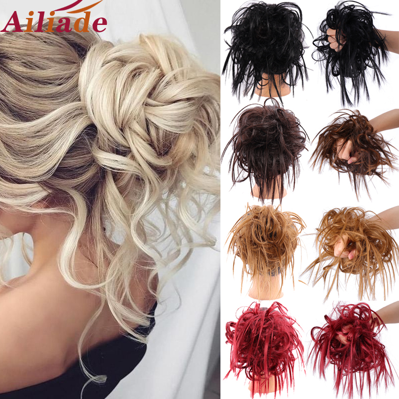 AILIADE Synthetic Chignon Hair Bun Donut Chignon Elastic Band Messy Scrunchies Wrap For Ponytail Hair Extension For Women