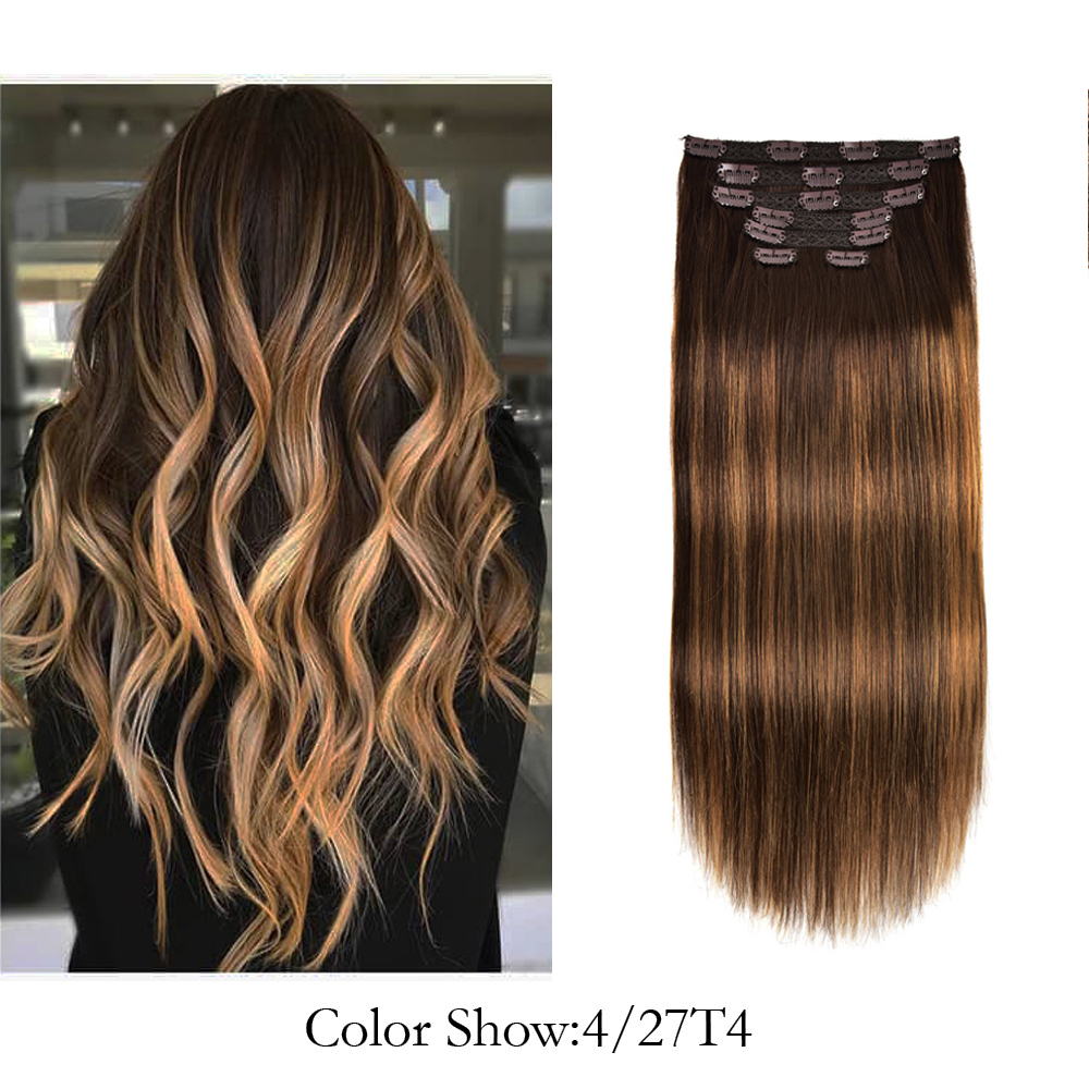 Gazfairy Remy Straight Hair Clip In Human Hair Extensions Double Weft Natural Color 18 Inches 120g 7Pcs/Set Full Head For Women