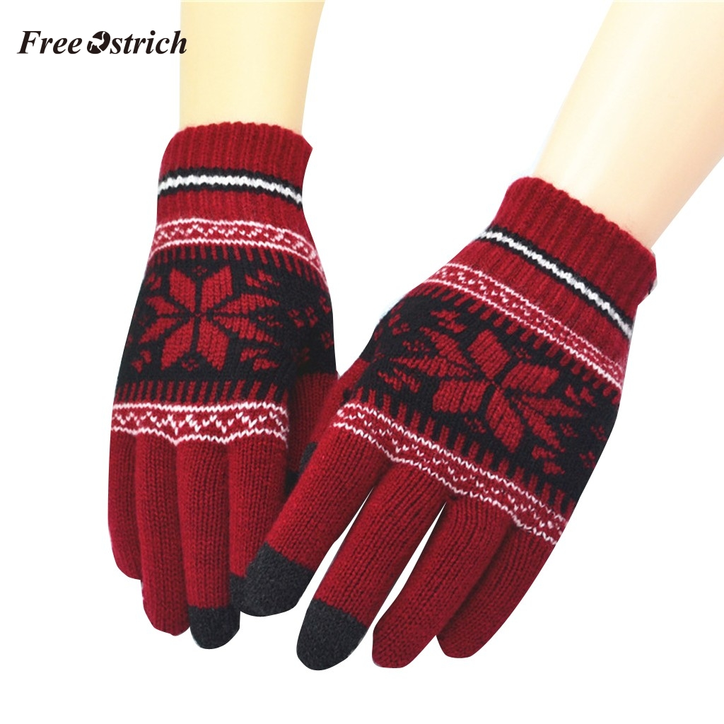 Free Ostrich Unisex Winter Jacquard Snowflake Pattern Knitted Warm Gloves Women Men Phone Screen Touching Driving Mittens Luva #