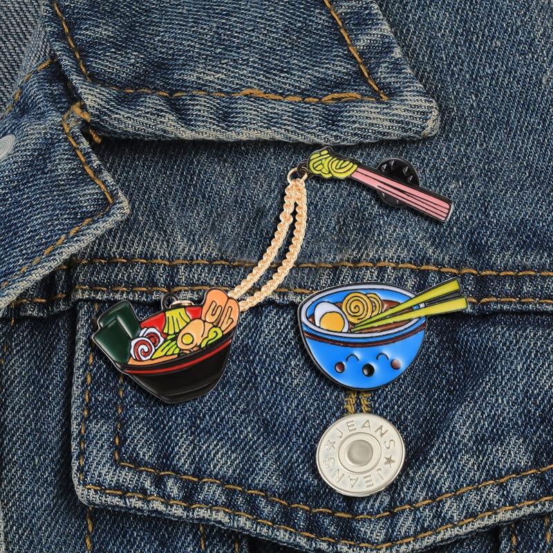 Épingles dessin animé en émail bol, baguettes bol, vestes à chaîne, broches Badge alimentaire japonais mignon, 2 pièces/ensemble