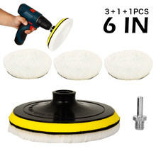5X 6inch Wool Polishing Pads Buffing Wheel Mop Kit Polish Pad With Hook Loop For Car Polisher Drill Adapter Accessories