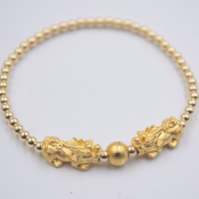 Pure 999 24K Yellow Gold Pixiu with 3mmW 18K Yellow Gold Bead Bracelet 6.3inch Women Bracelet