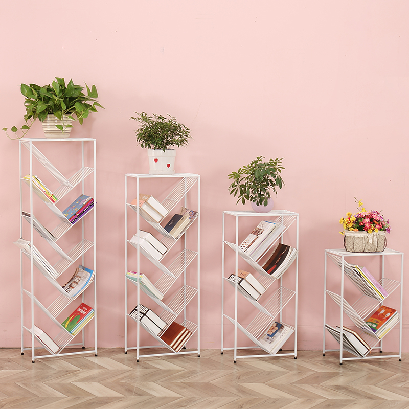 Iron Multi-layer Simple Bookcase Storage Rack Simple Modern Floor Children's Bookcase Tree-shaped Bookshelf